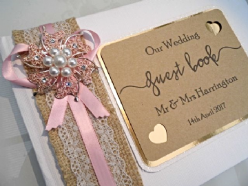 Rose Gold & Pink Wedding Guest Book